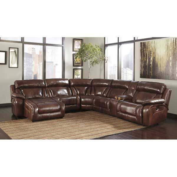 6 Piece Leather Power Motion Sectional w/ LAF Chaise