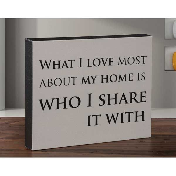What I Love Most About My Home 8x10 Message Cube