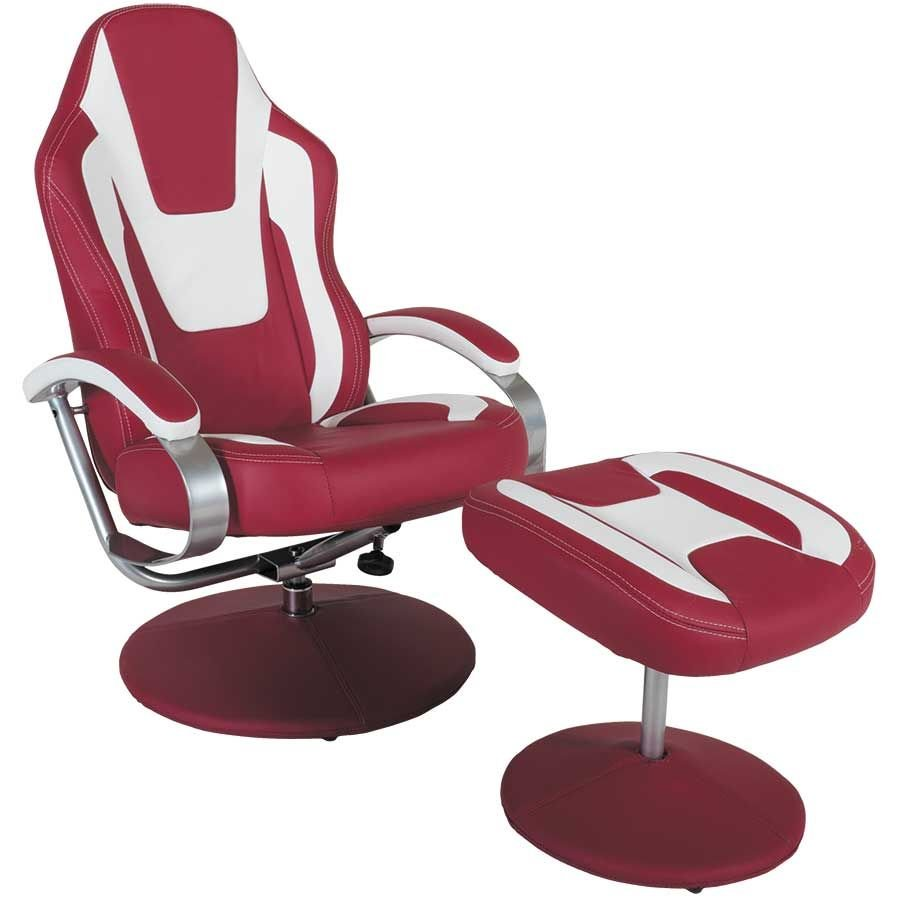 Red and White Swivel Chair w/ Ottoman