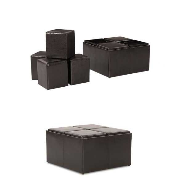 Black Cocktail Ottoman with Trays