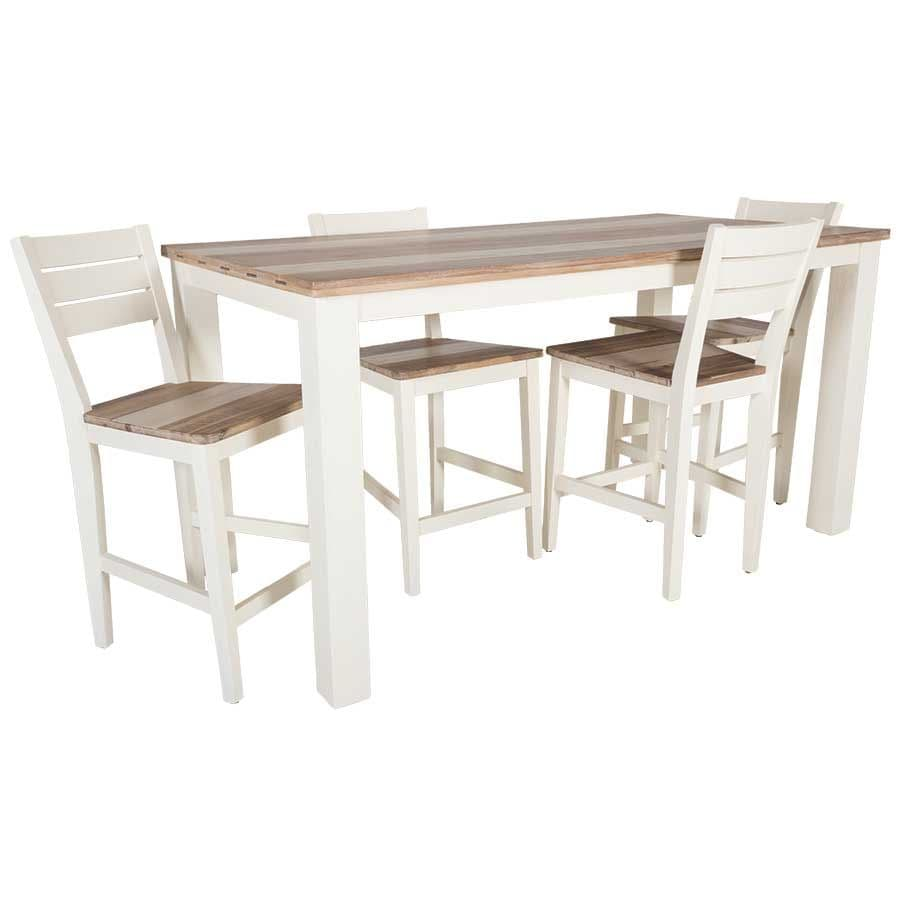 White Rectangular Counter Height Table And Counter Stools