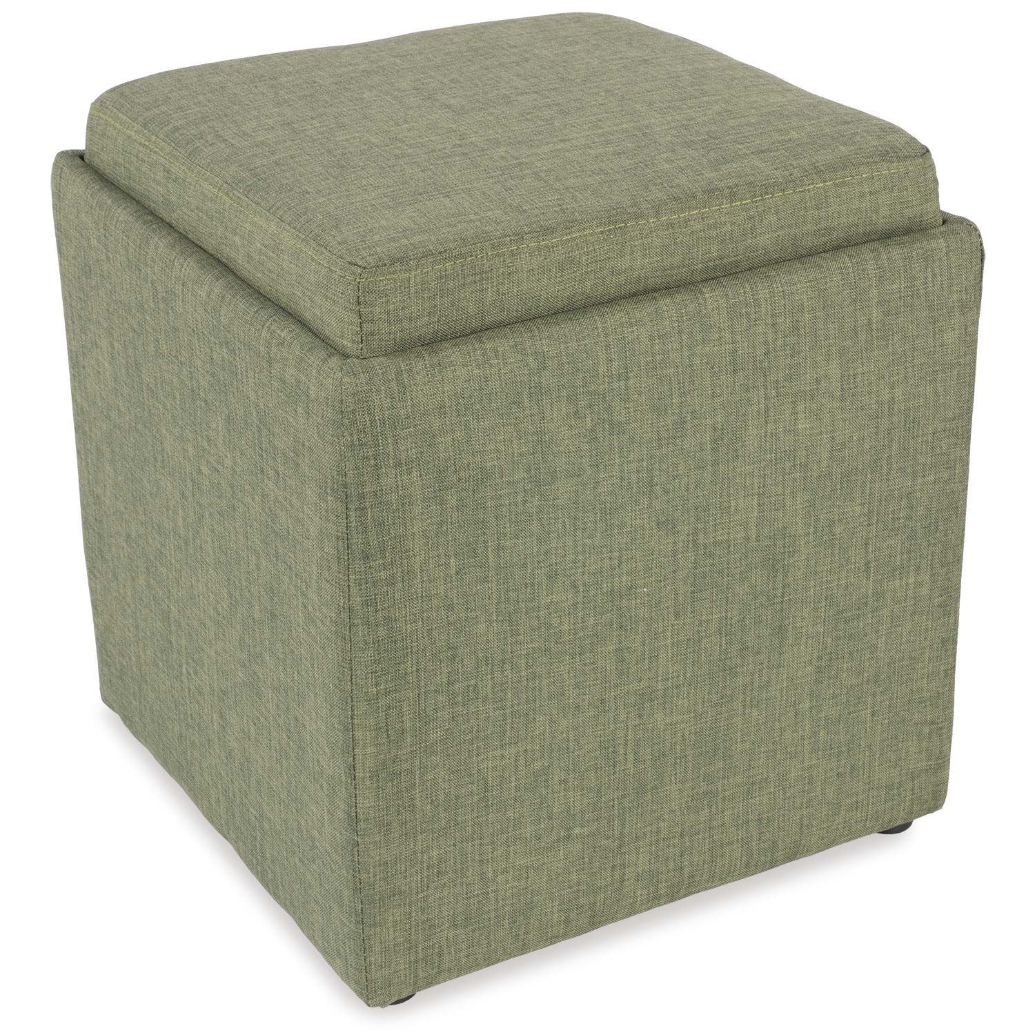 Fern Green Storage Ottoman with Tray