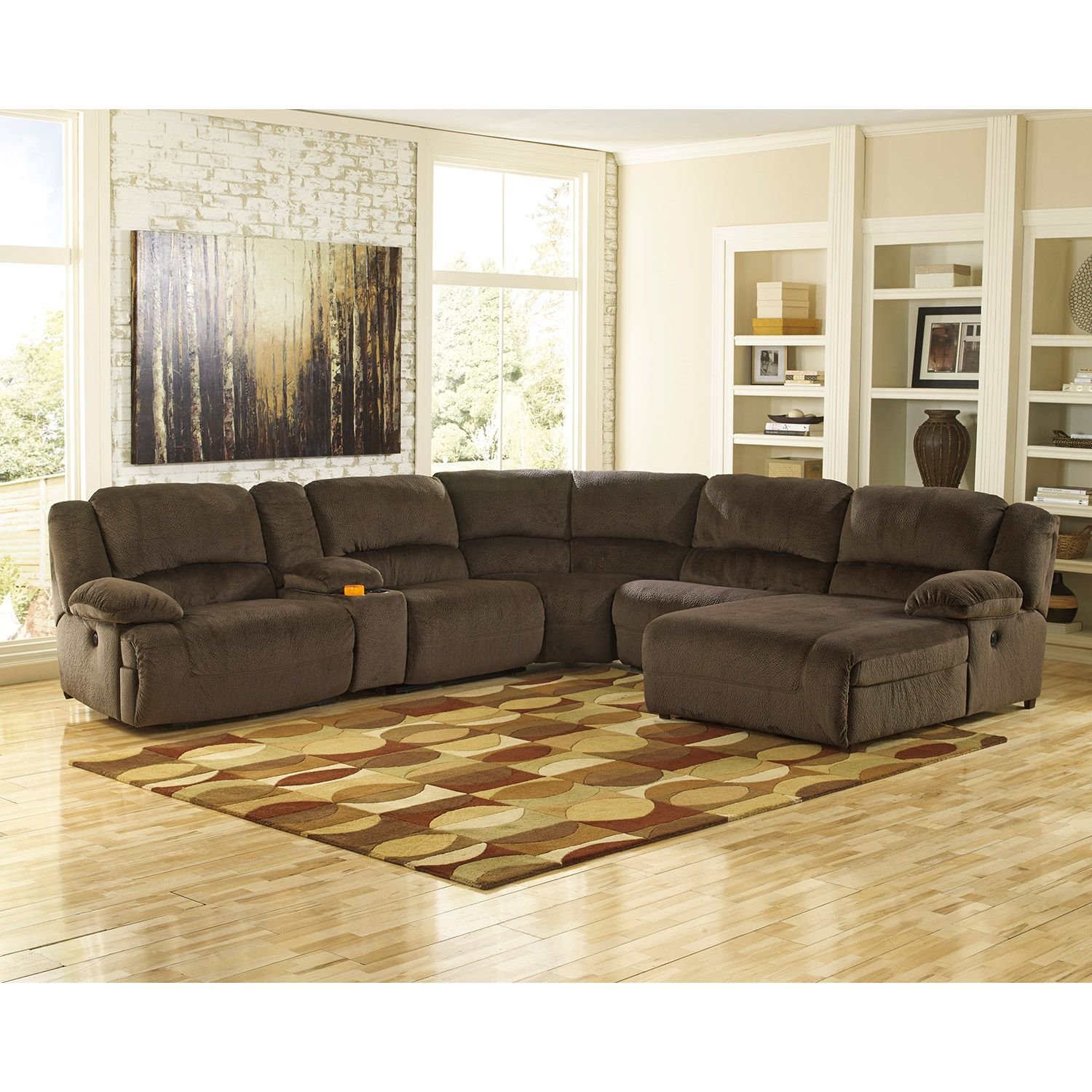 Chocolate Power Motion 6PC w/Right Arm Facing Chaise
