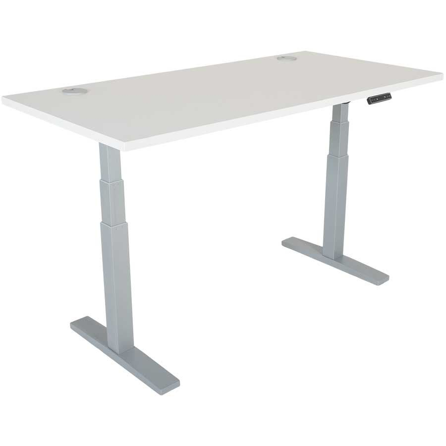 Power Height Adjustable 30x60 White Top Table