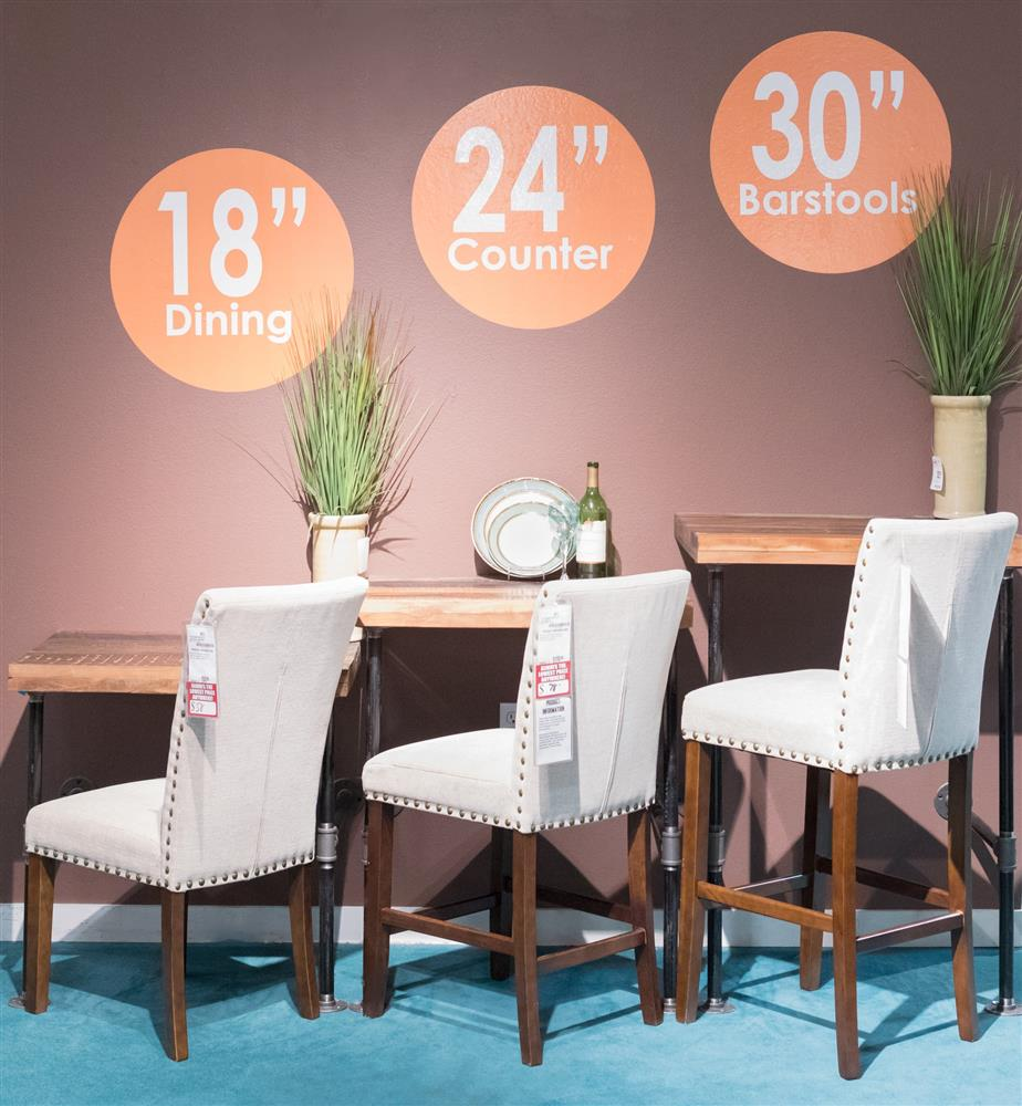 Comparison of standard dining chair counter stool and bar stool