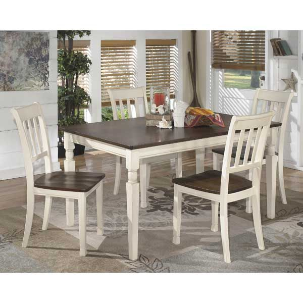 Brown and White Dining Table and Chairs
