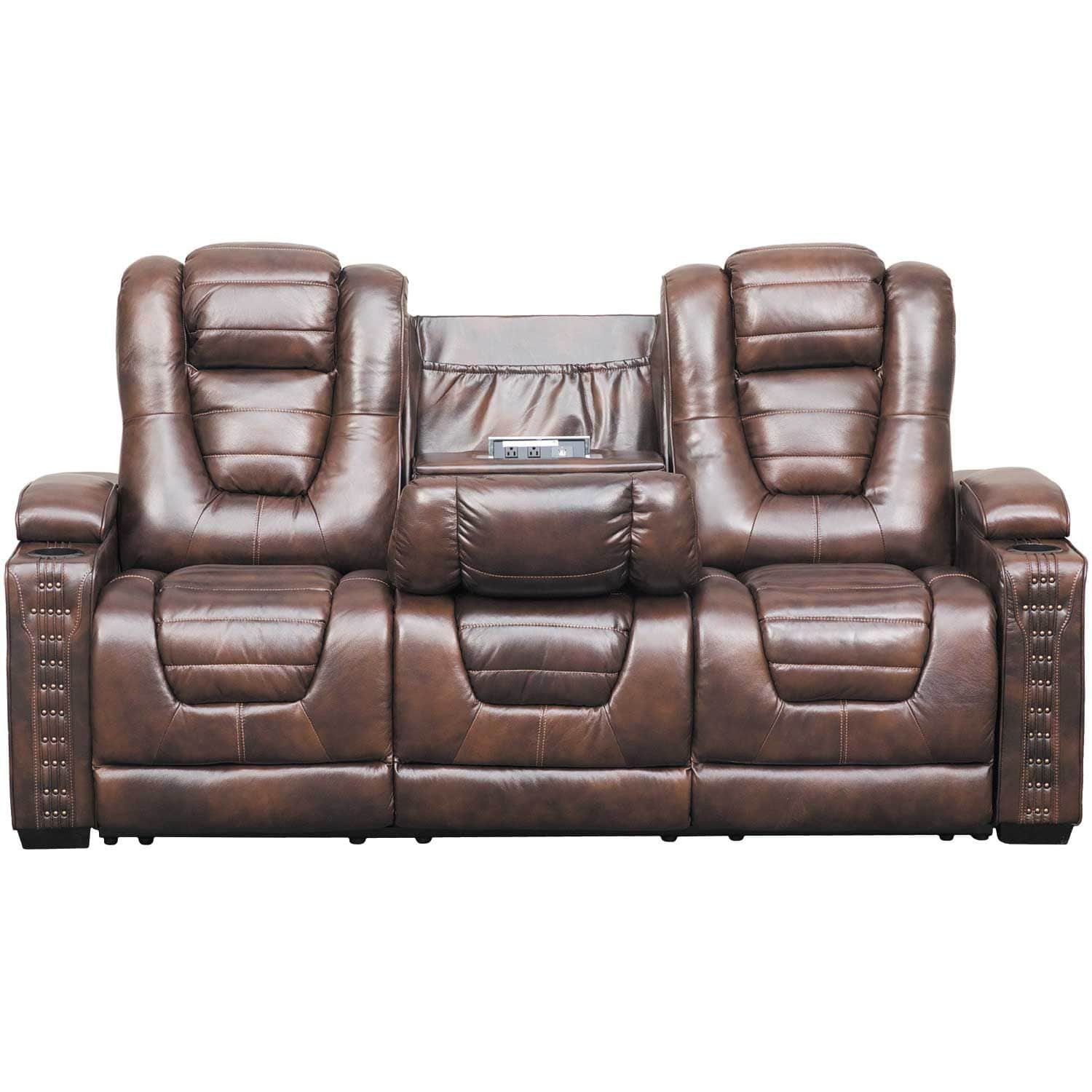 Big Chief Power Reclining Sofa with Drop Table and Adjustable Headrest