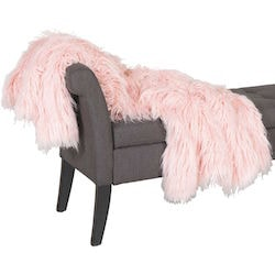 Blush Shaggy Fur Blanket