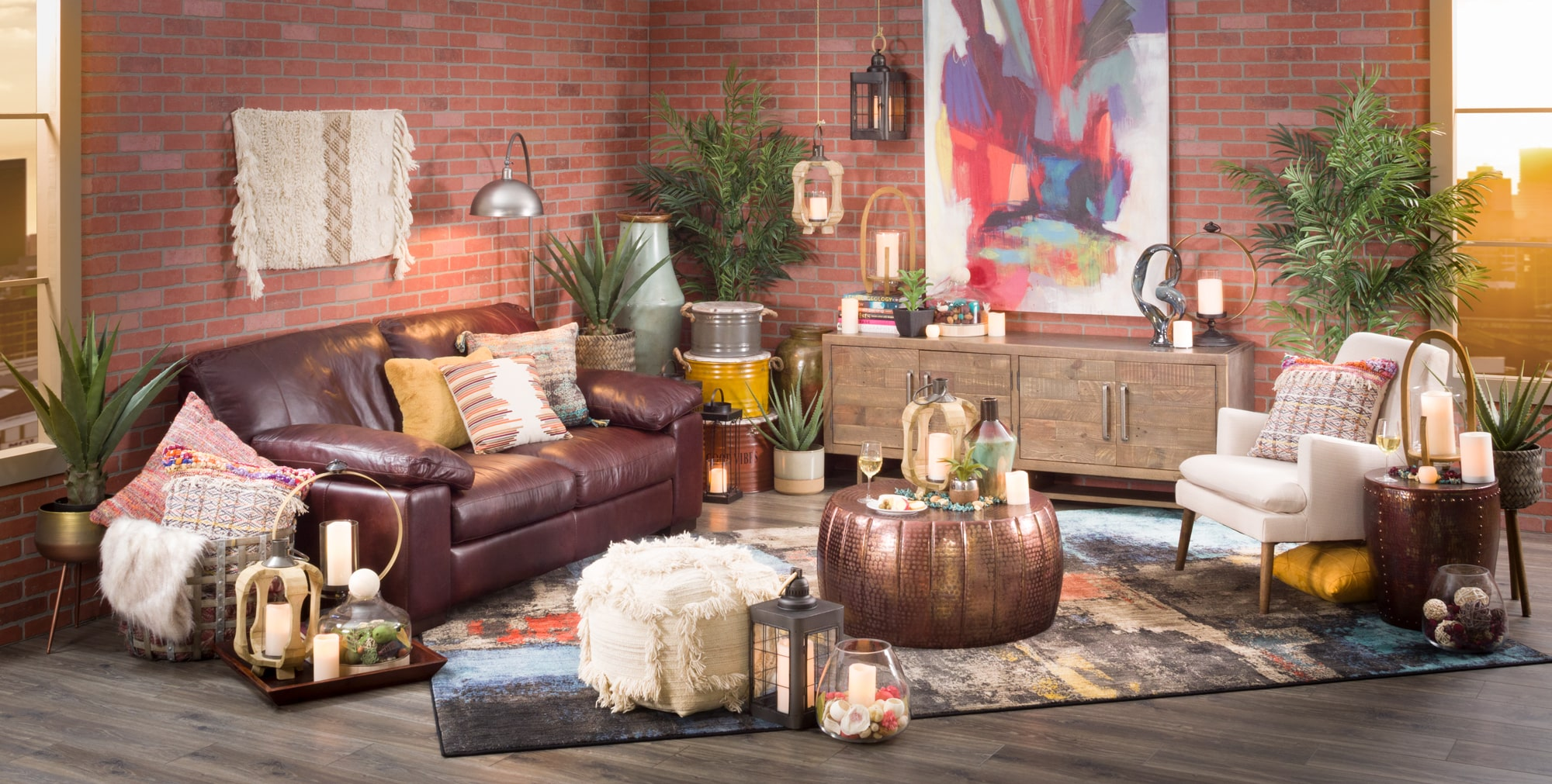 Boho living room with rug