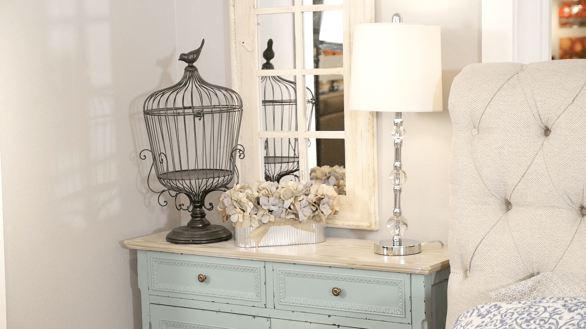Blue and cream accent chest and mirror