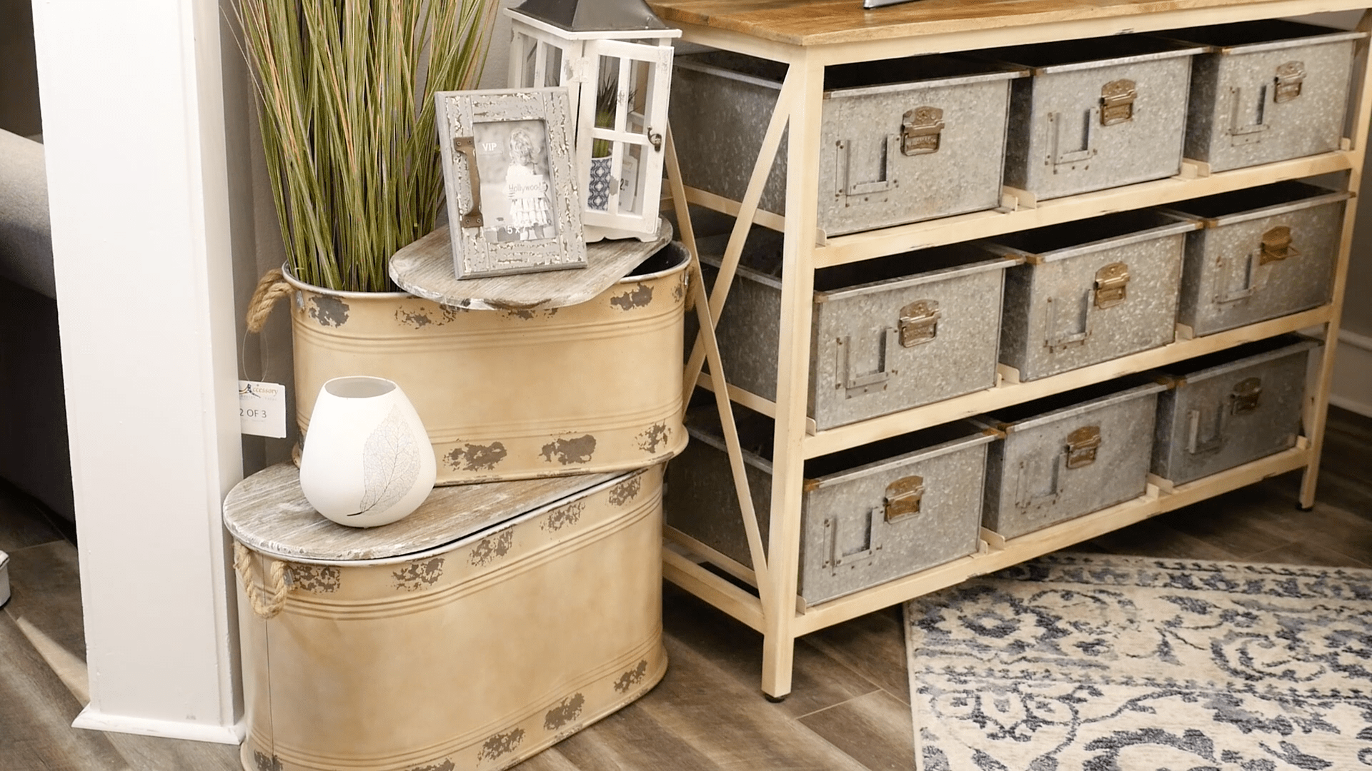 Metal storage bin and galvanized metal storage console