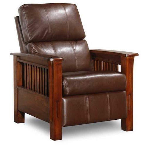 Recliner with wood arms