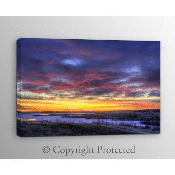 Picture of Fire and Ice in a Winter Sky 48x32 *D