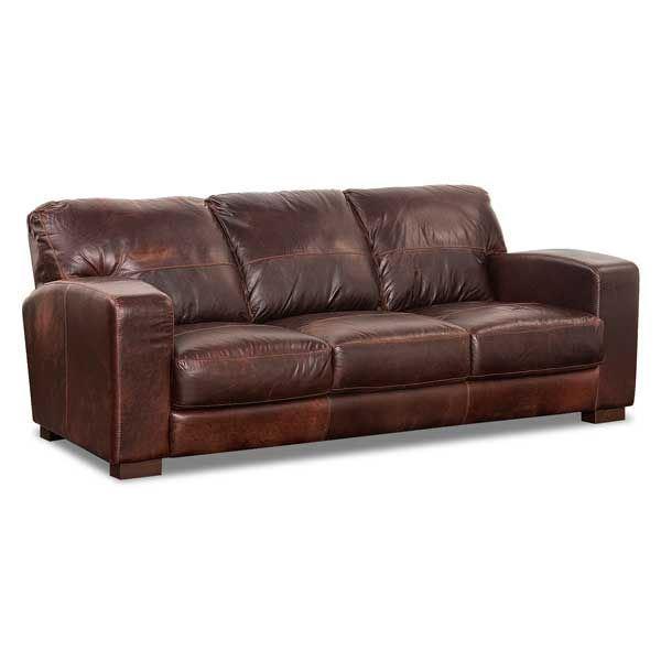 Soft Leather Sofa: 4442S ASPEN SADDLE 40002