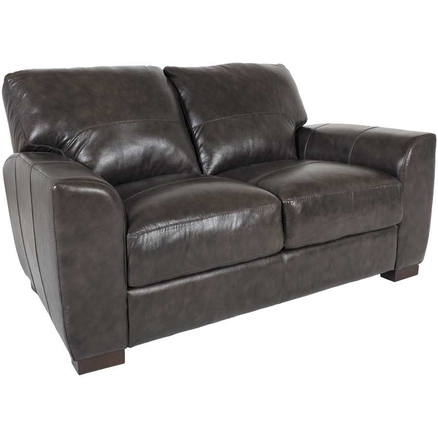 Picture of Dark Grey Italian All Leather Loveseat