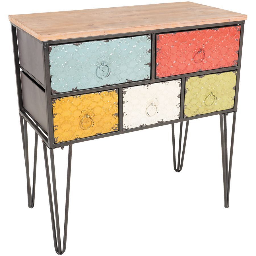 Picture of Metal Five Drawer Multi-Color Chest