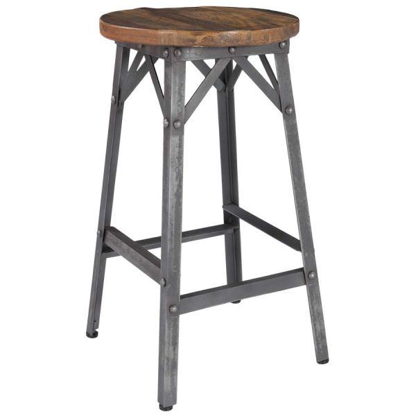 Iron Stool With Reclaimed Wood Seat