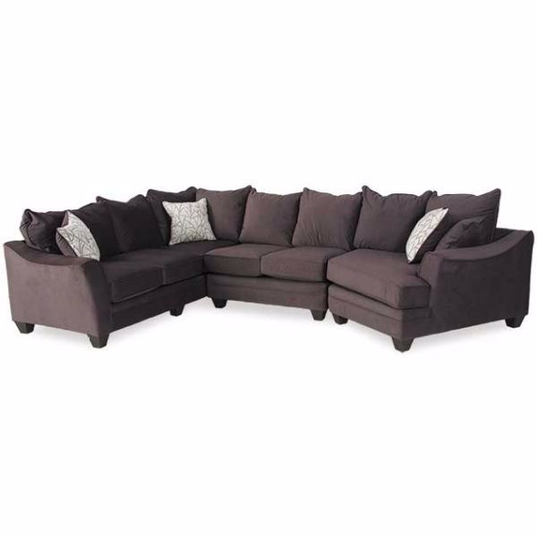 Swell Flannel Seal 3 Piece Sectional With Raf Cuddler Beatyapartments Chair Design Images Beatyapartmentscom