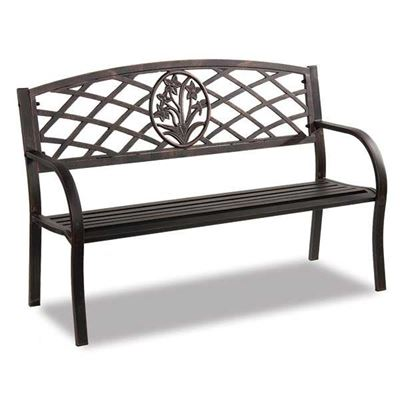 Picture of Steel Park Bench - Floral Trellis