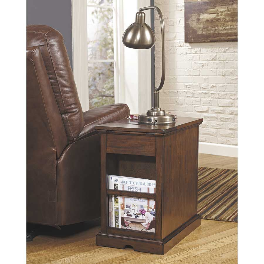 Picture of Laflorn Medium Brown Power Chairside End Table