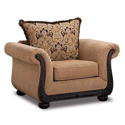 Picture of Taupe Chair with Black Wood Tr