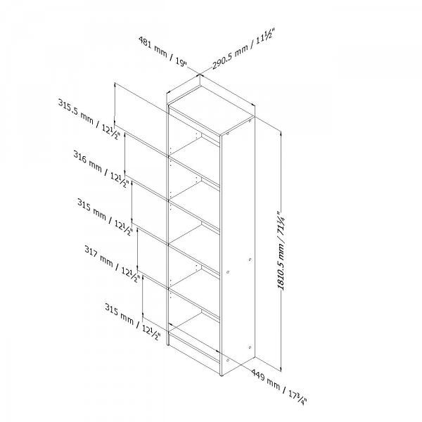 Picture of Axess 5-Shelf Narrow Bookcase *D