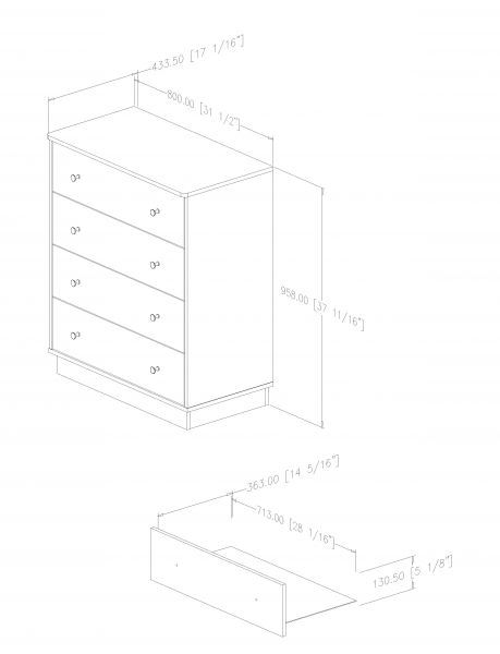 Picture of Litchi 4-Drawer Chest *D