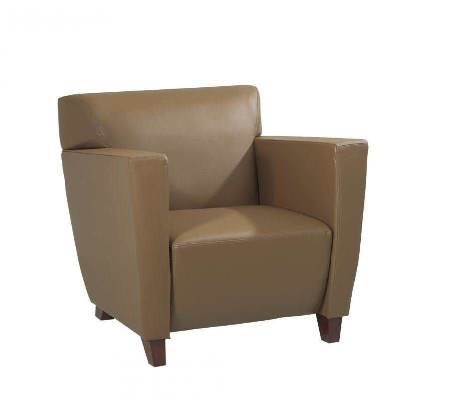 Picture Of Taupe Leather Club Chair *D