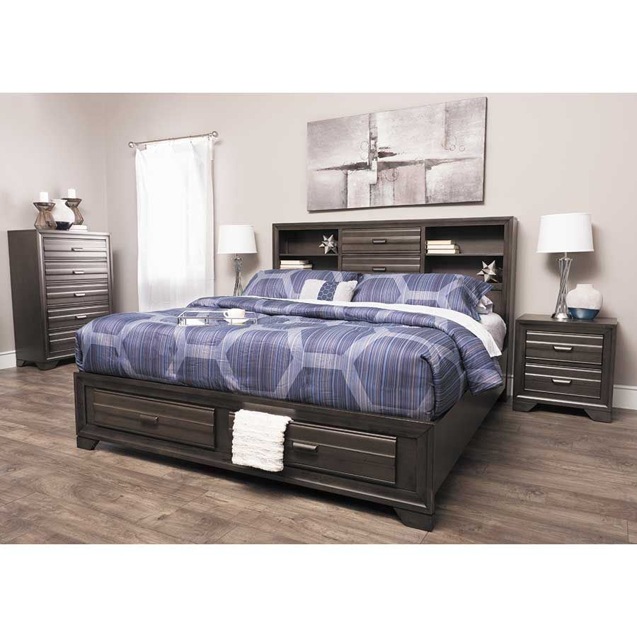 Picture of Antique Grey Full Storage Bed
