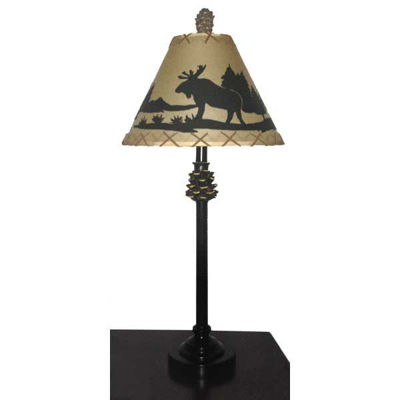 "Picture of 30"" Pine Cone Moose Table Lamp"
