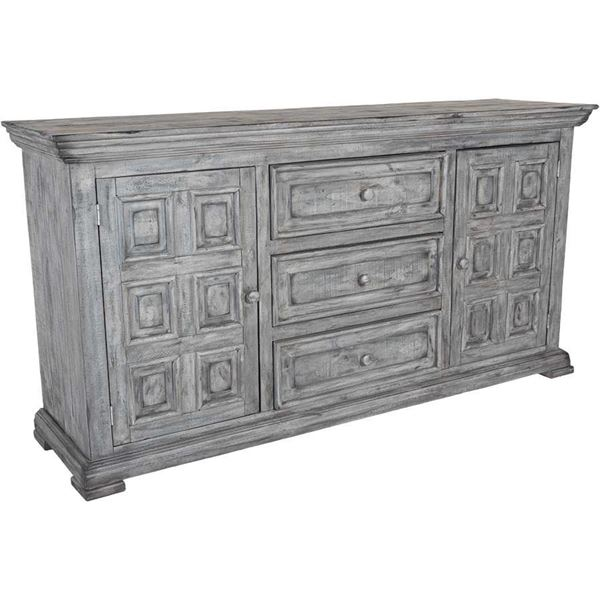 Picture of Grey Isabella 3-Drawer Door Dresser