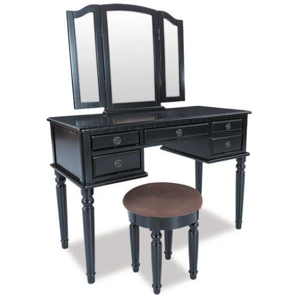 Black 3 Piece Vanity Set With Mirror And Stool Ff 5052bk