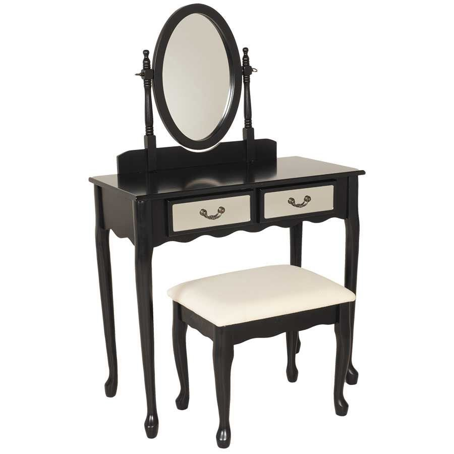 Picture of 3 Piece Black Vanity Set with Mirror and Bench