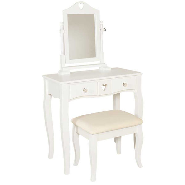 Small 3 Piece White Vanity Set With Mirror And Bench Hs 8138wh