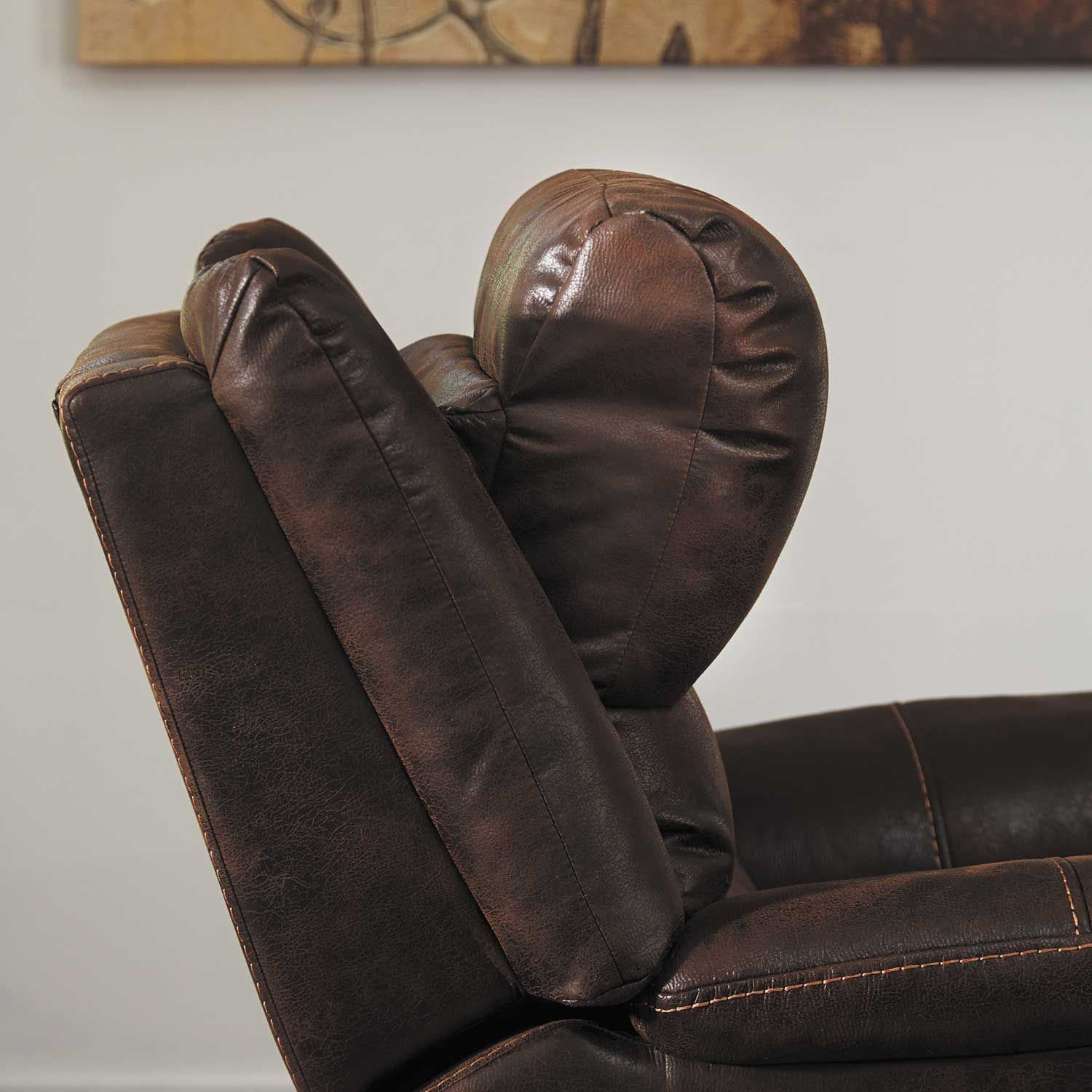 Barling Walnut Power Recliner With Adjustable Headrest And