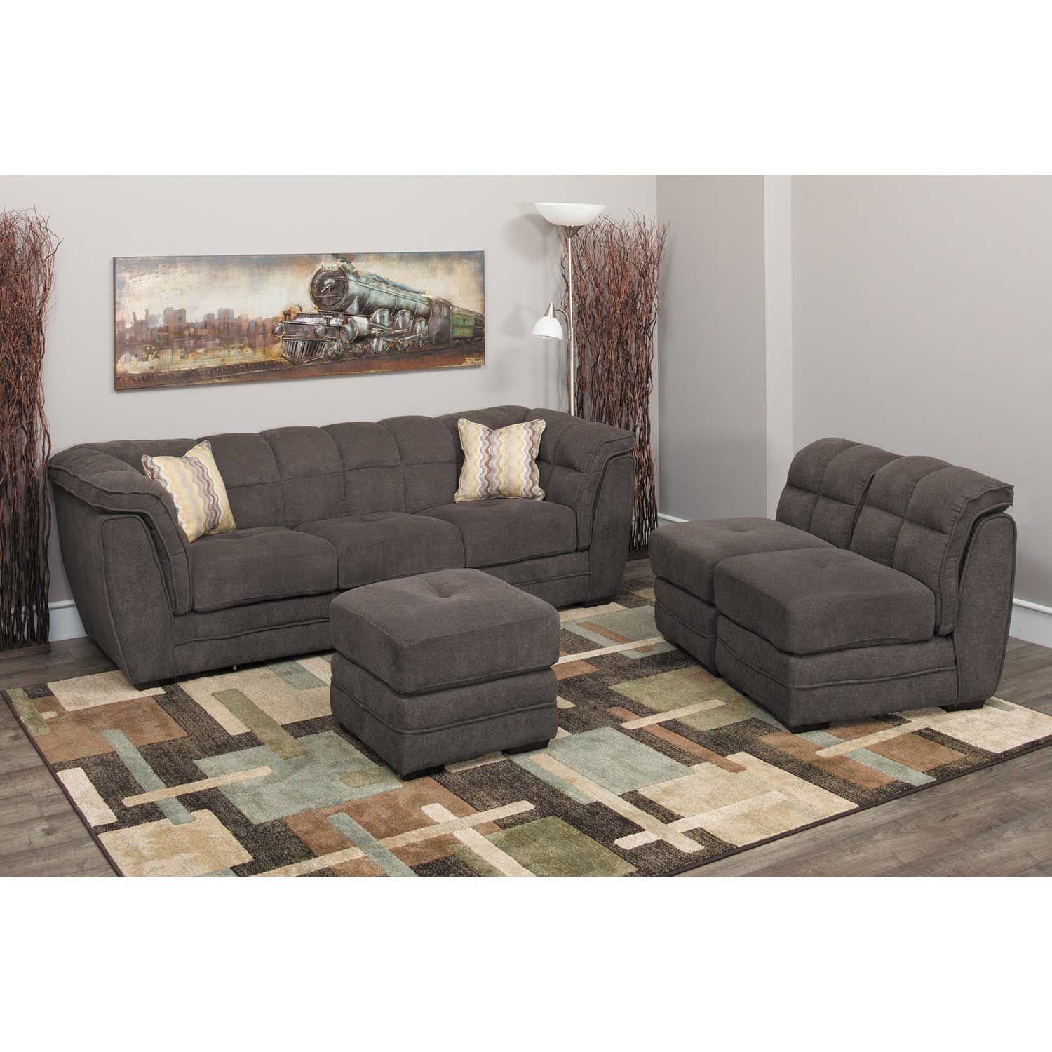 Attirant Picture Of Clio Gray 4 Piece Pit Sectional