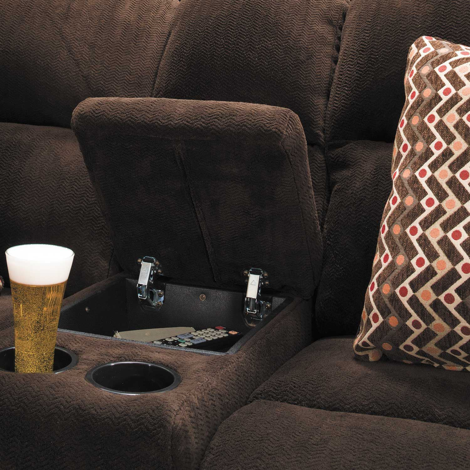 Picture of Chevron Chocolate Reclining Console Loveseat