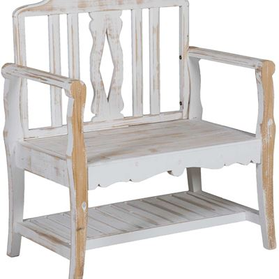 Picture of Small White Farmhouse Bench