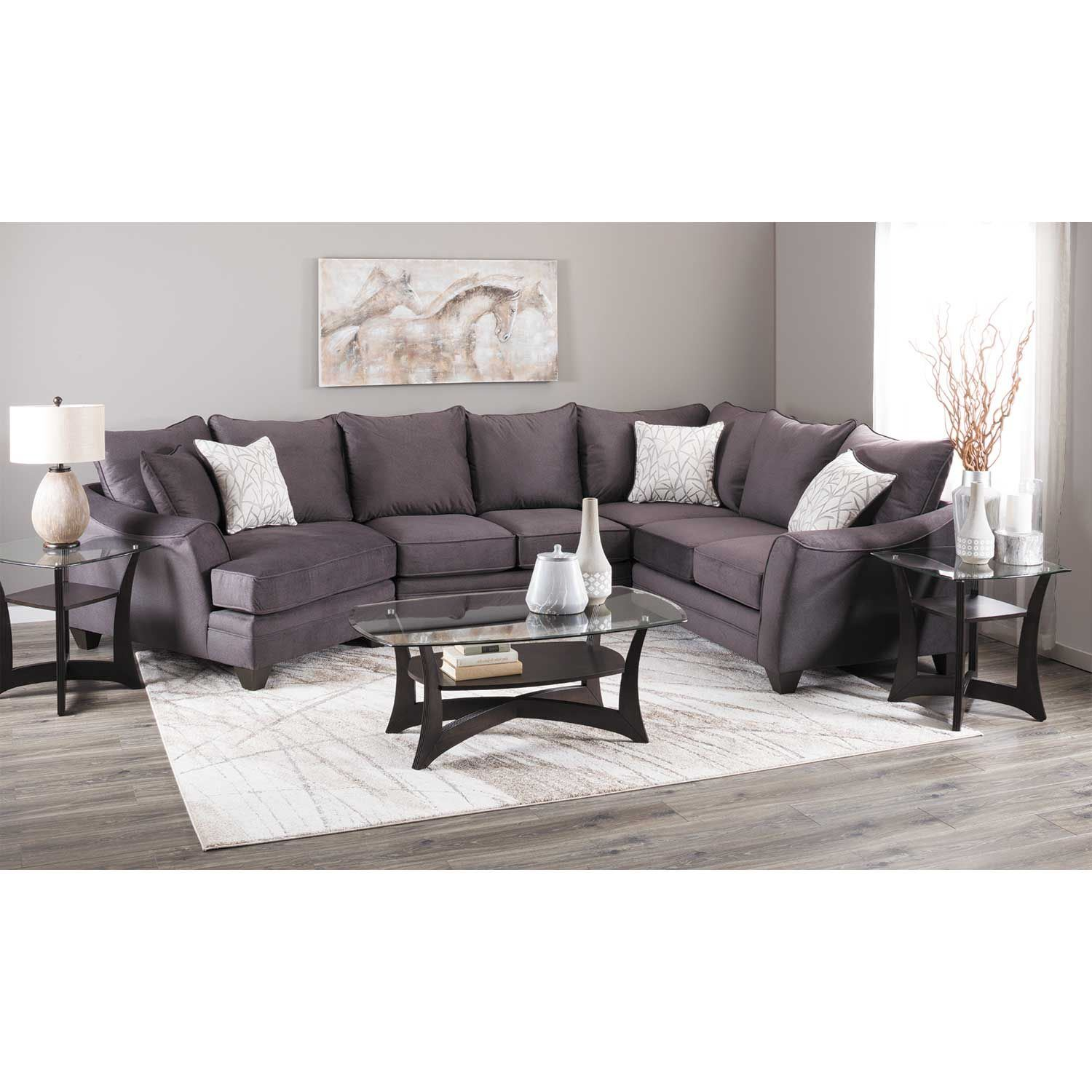Picture of Flannel Seal 3 Piece Sectional with RAF Cuddler