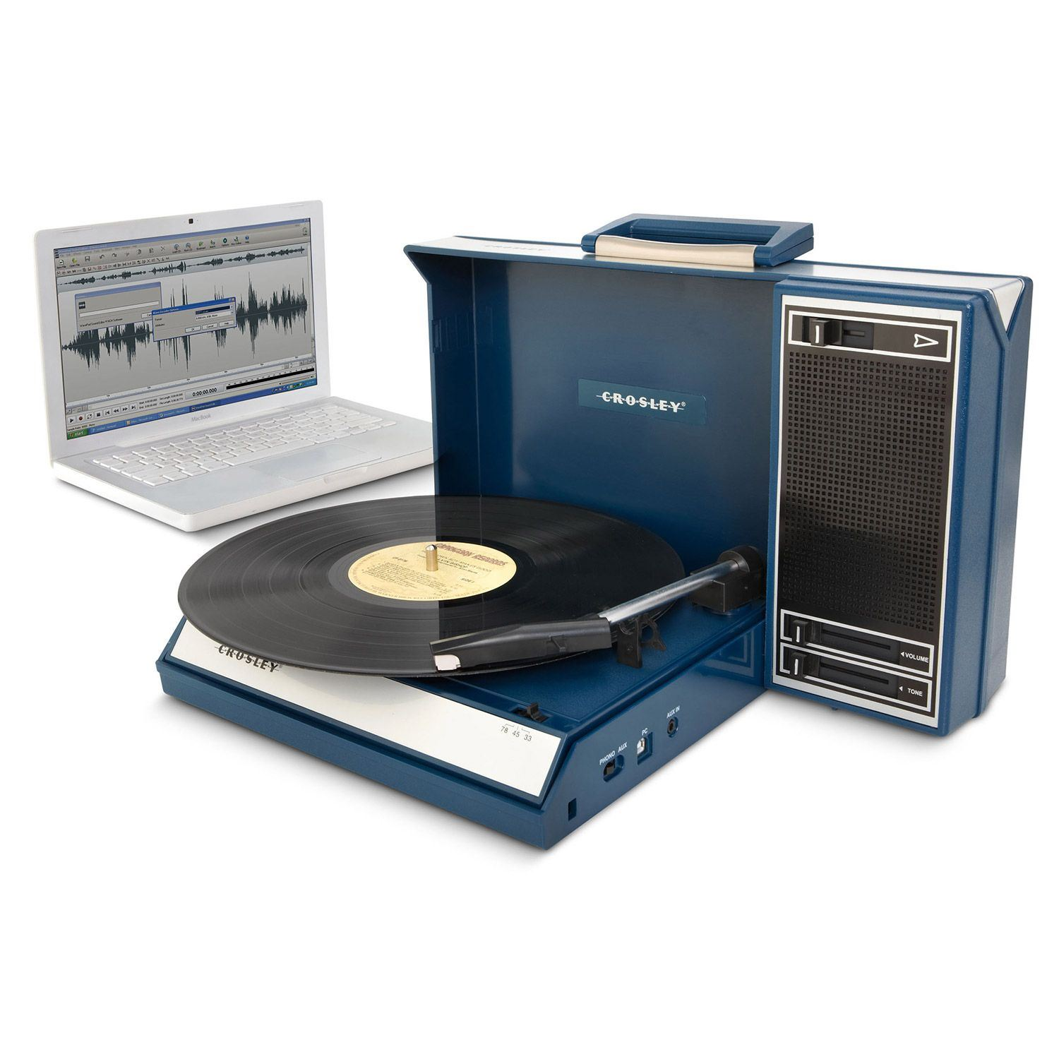 Picture of Spinnerette Portable USB Turntable, Blue *D