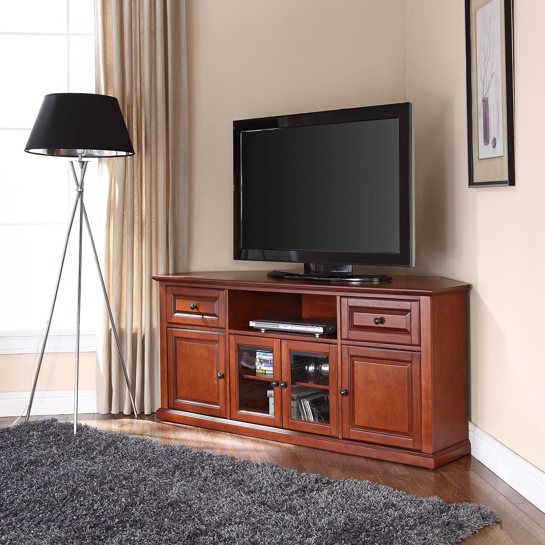 60in Corner Tv Stand Cherry D Cf1000260 Ch Crosley Furniture