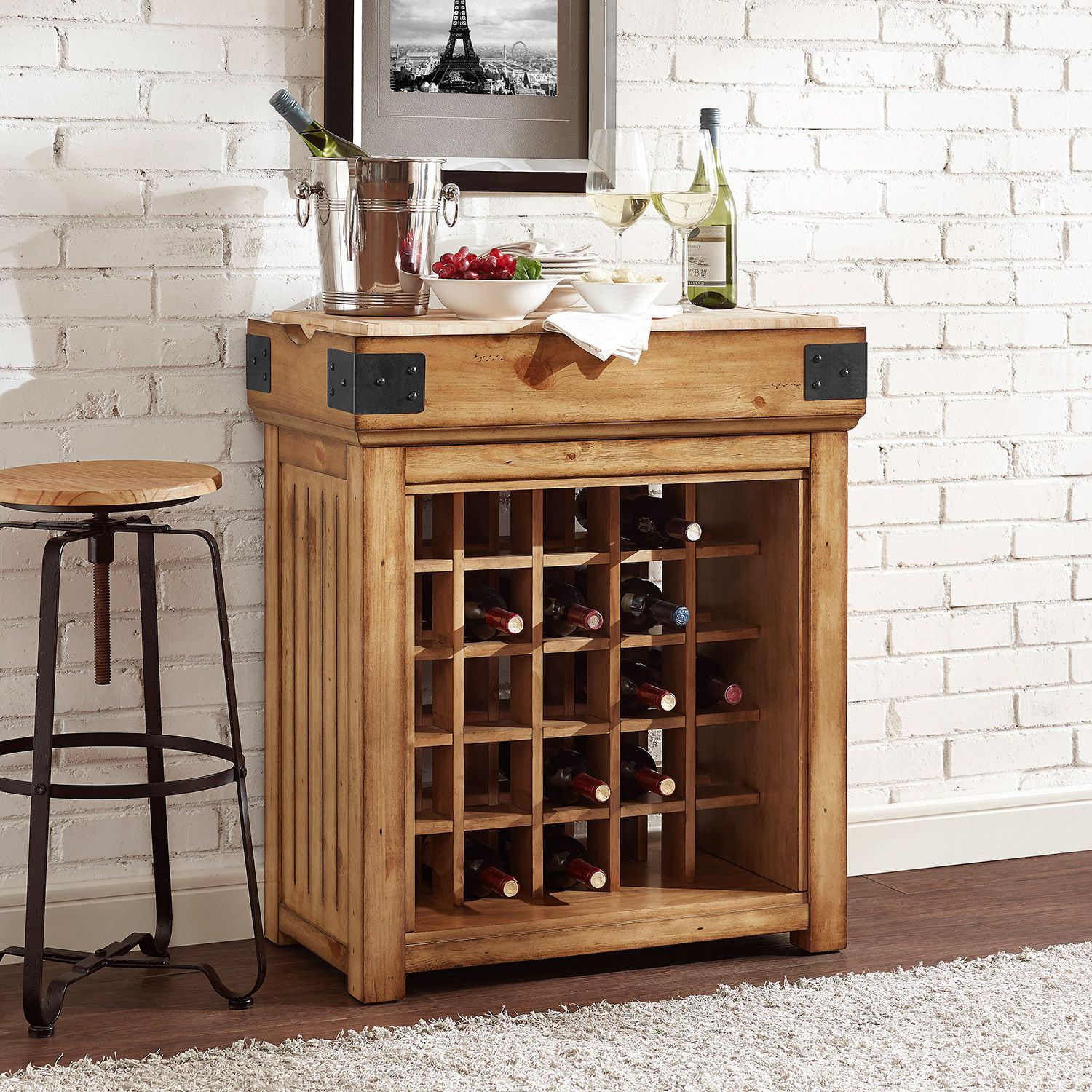 Crosley Furniture Cf3008 Na Roots Rack Industrial Kitchen Cart: Bistro Wine Island, Natural *D