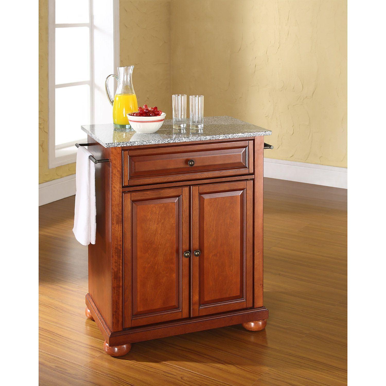 Picture of Alexandria Granite Top Kitchen Cart, Cherry *D