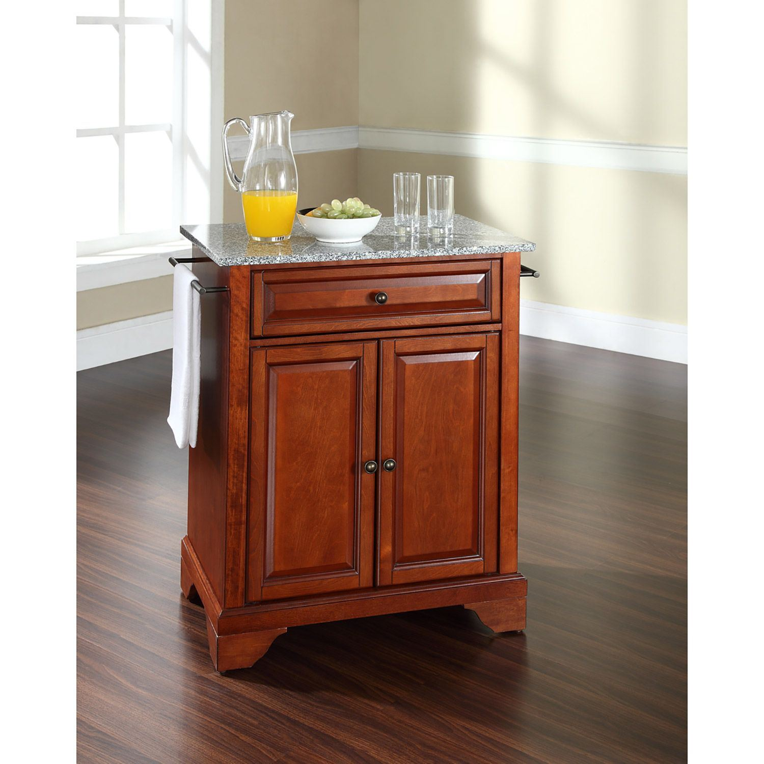 Picture of Lafayette Granite Top Kitchen Cart, Cherry *D