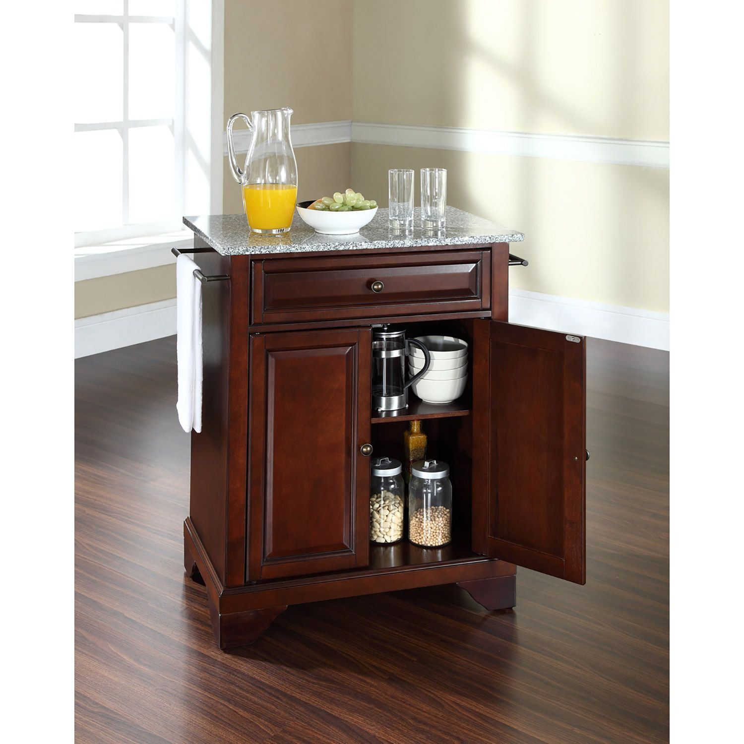 Picture of Lafayette Granite Top Kitchen Cart, Mahogany *D