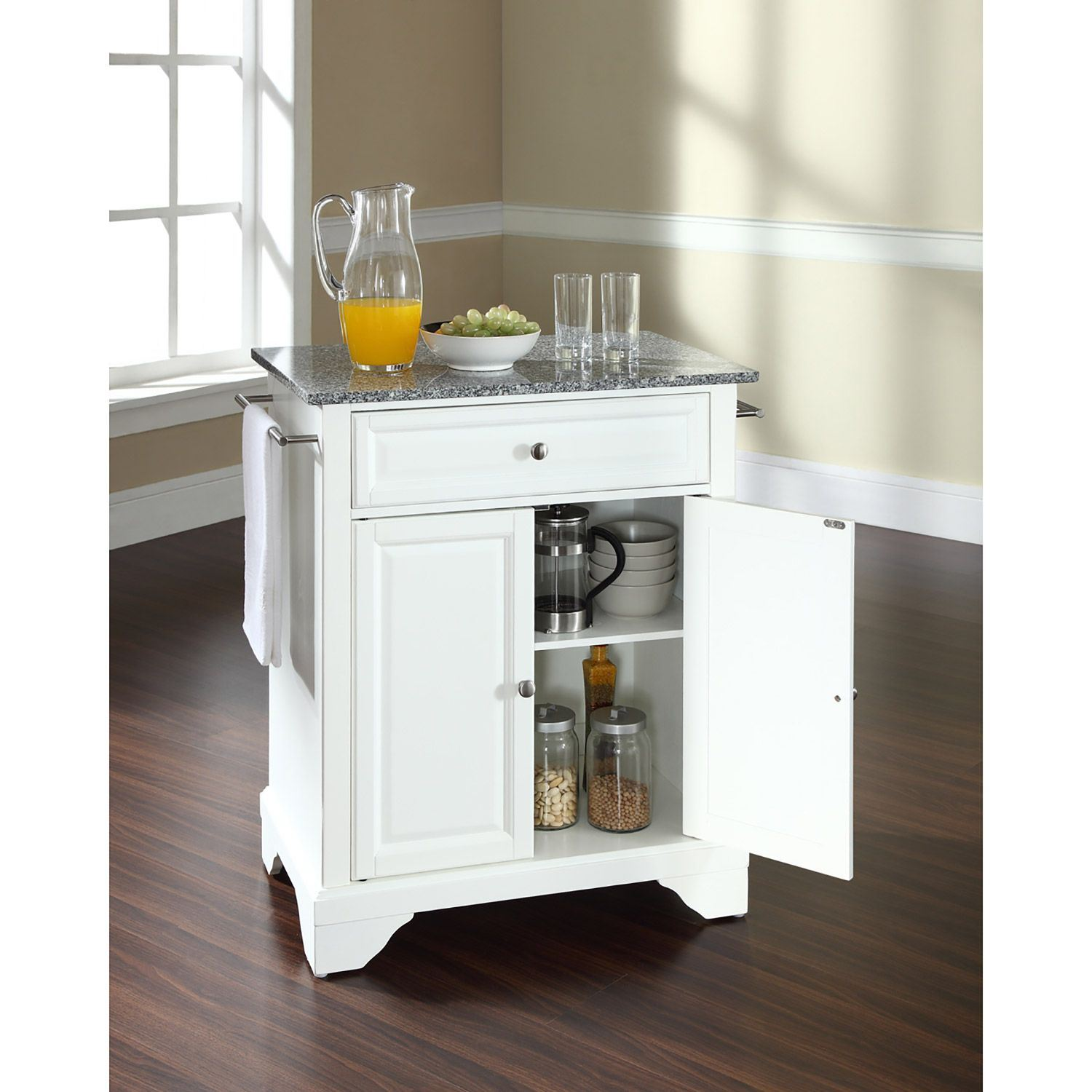 Picture of Lafayette Granite Top Kitchen Cart, White *D