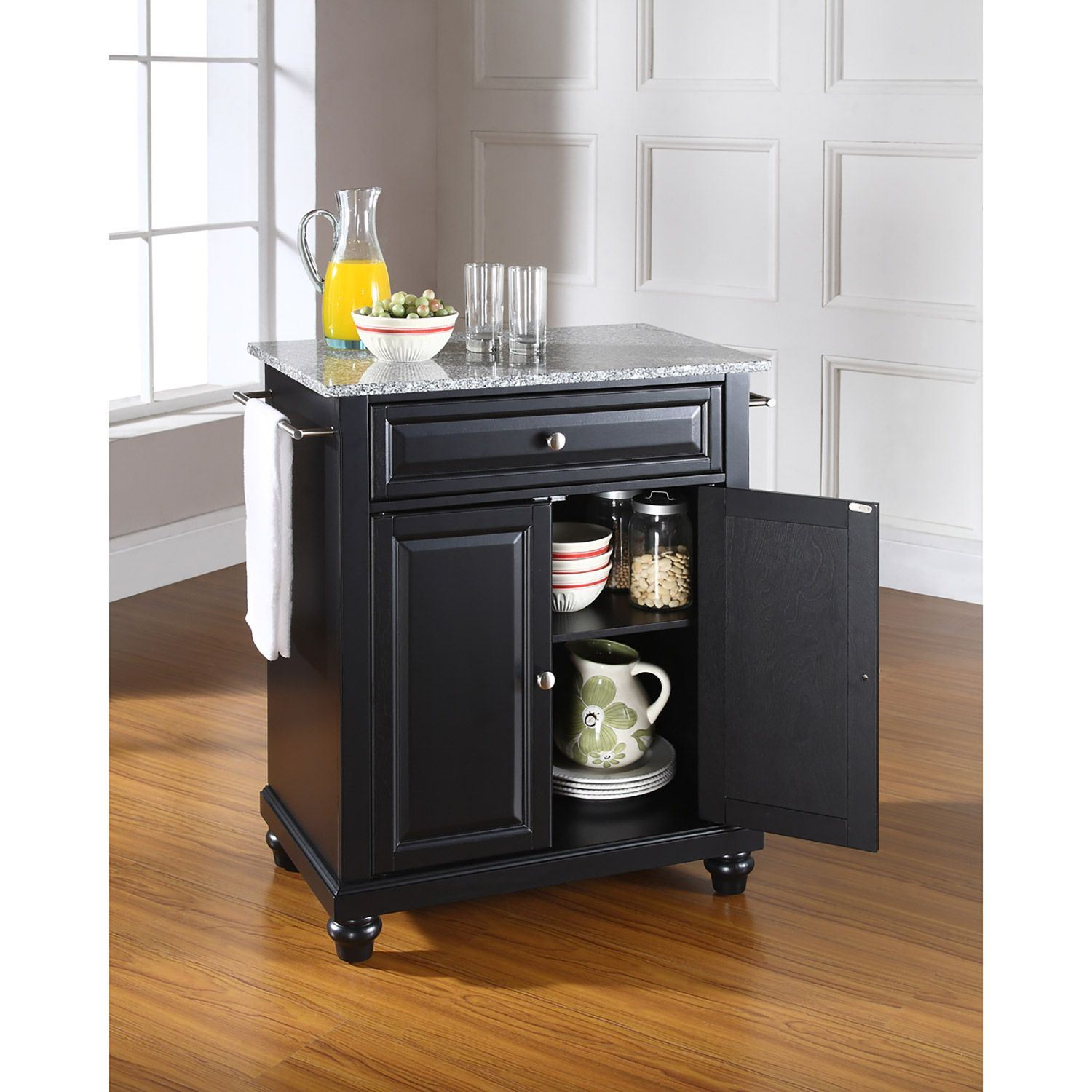 Picture of Cambridge Granite Top Kitchen Cart, Black *D