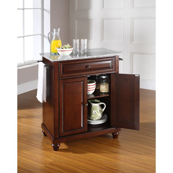 Picture of Cambridge Granite Top Kitchen Cart, Mahogany *D