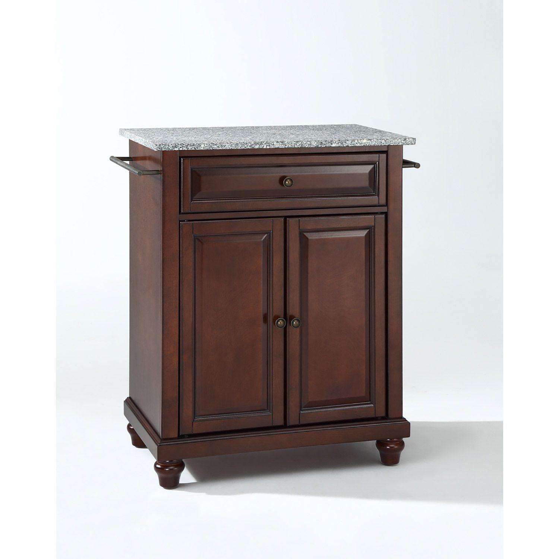 Picture of Cambridge Granite Top Kitchen Cart, Mahogany *D