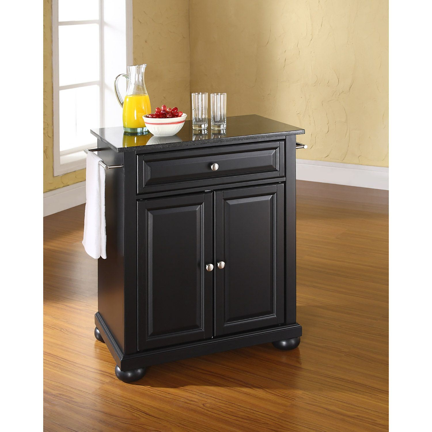 Picture of Alexandria Black Granite Top Kitchen Cart, Black *